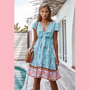 Dresses & Skirts - Blue V-Neck Floral Print Ruffled Dress